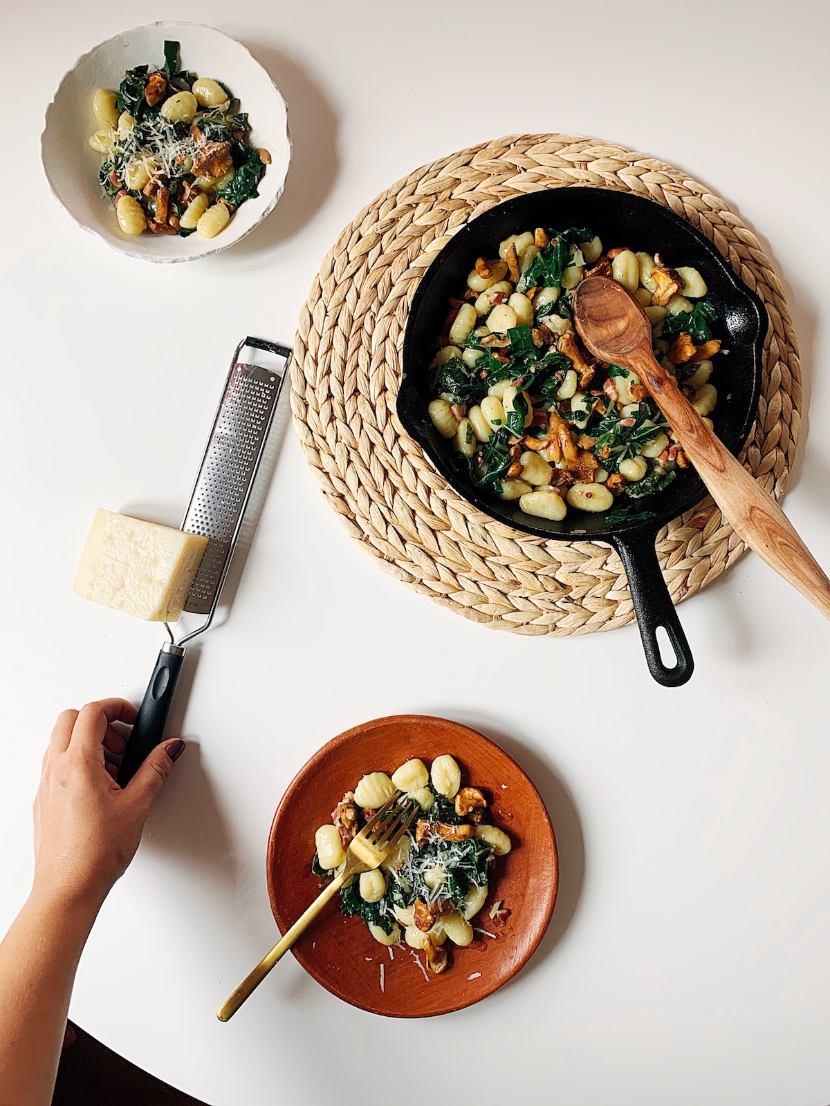 gnocchi with chard and chanterelle mushrooms